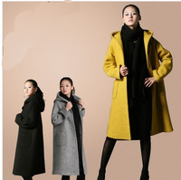 Women winter wool Jacket cashmere hoody coat Slim Unremovable Hat lady lengthen trench coat plus size