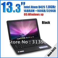 Wholesale 13.3 inch mini laptops computer CPU D425 1.8G Memory 1GB HDD 160G netbook umpc notebook