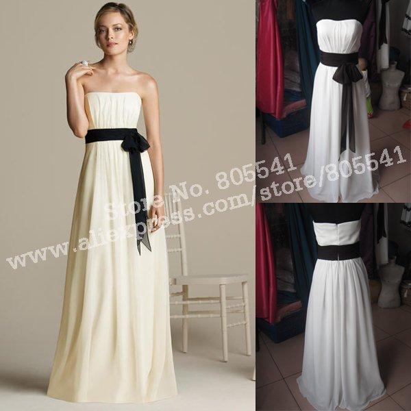 100% Real Photo Custom-made Available Strapless with Black Belt 2013 New Chiffon Wedding Bridal Bridesmaid Dress BD-0136(China (Mainland))