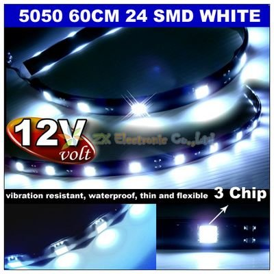 10pcs/lot Best offer Car Home use 12V 60cm 24 5050 SMD LED Strip White Color + waterproof flexiable + wholesale Free shipping(China (Mainland))