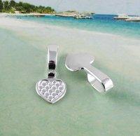 FREE SHIPPING 200pc glue on bail cabochon settings heart charm pendants A11586SP