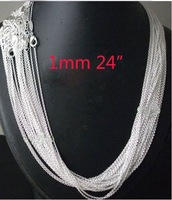wholesale 20pcs 925 sterling Silver 1mm Rolo Chain 24 inch FREE Shipping,925 sterling silver chain necklace,925 silver jewelryj