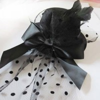 NEW feather bow veil Black Fascinator wedding party hat