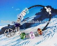 FREE SHIPPING 3PCS European Style Lucky Bead Charm Leather Bracelet #20054