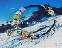 FREE SHIPPING 3PCS European Style Flower Charm Leather Bracelet #20055