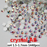 [1440pcs/10gross] Free shipping flatback Zircon rhinestones,SS4 1.6-1.7mm,machine cut color AB crystal