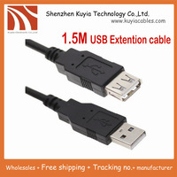 5pcs/lot!!Free Shipping+ tracking number +Good quality New 1.5M 5Ft USB 2.0 A-Male to A-Female USB Extension Cable
