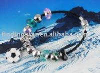 FREE SHIPPING 3PCS European Style soccer Bead charm Leather Bracelet #20058