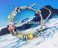 FREE SHIPPING 3PCS European Style Animal glass Bead charm Bracelet #20068