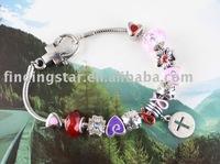 FREE SHIPPING 3PCS European Style Bead charm Cross Bracelet #20071