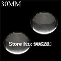 30mm Clear Circle Glass Cabochon, 1 1/4 Inch Magnifying Round Beads, 30mm Glass Cabs