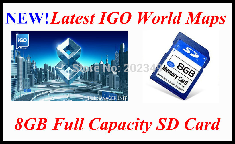 Europe, USA, South America, Australia, Asia maps! 8GB SD card with the latest 2012 IGO world maps for car GPS navigator(China (Mainland))