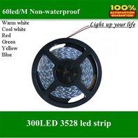 led strip,high quality flexible led strip light 3528 SMD 300 led 5M 100M/lot  red/white/warm/green/blue/yellow/RGB