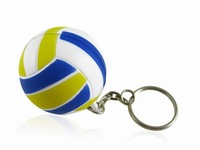New Cute Blue Rubber Mini Volleyball Shaped Key Chain