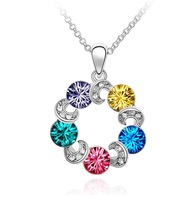 Free shipping factory wholesale hot sell new design full rhinestone wheel shape crystal necklace,4pcs.lot
