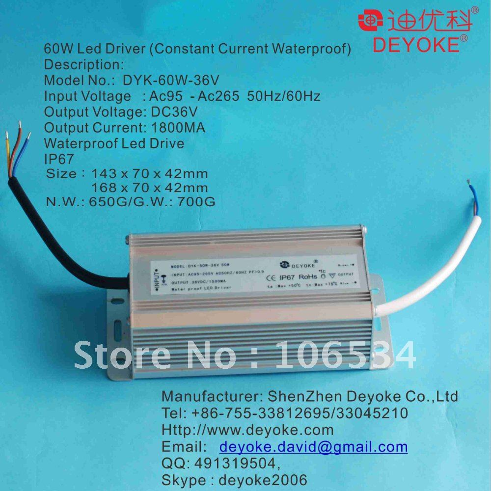 Waterproof constant Current 60w Led driver, Led driver 60w with PFC&gt;0.95, Led Floodlight, Street light Dirver,2 years Warranty(China (Mainland))