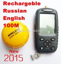 FFW718 Fish finder Upgrade FF998 Russian menu Rechargeable Waterpoof Wireless Fishfinder Sensor 125kHz Sonar  echo sounder(China (Mainland))