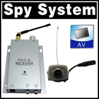 Wireless Mini pinhole/micro CCTV security surveillance A/V audio 6 IR LED RC Camera receiver 1.2Ghz kit