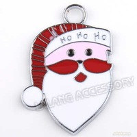 30pcs/lot Fashion Alloy Santa Claus Head Rhodium Plated Charms Pendant Dangle Beads Fit Jewelry 31*22*2mm 140169