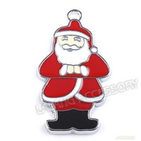 30pcs/lot Fashion Alloy Rhodium Plated Mostly Red Enamel Santa Claus Charms Pendant Dangle Bead Fit Charms Bracelet 140177