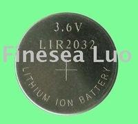 250pcs LIR2032/Lot, 3.6v rechargeable button battery, li-ion button batteries