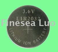 250pcs LIR2032/Lot, 3.6v rechargeable button battery, li-ion button batteries