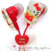 Christmas super gifts-- hot sellling Fashion cute Hello Kitty in-ear Earphone+3pcs earplug,Headpone Headset for mp3 mp4 CD