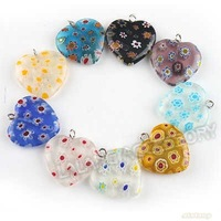 60x New Assorted Millefiori lampwork Heart Pendant Bead Jewelry Wholesale Pendant Fit Charms Bracelet & Necklace 140188