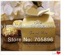 FREE SHIPPING--Fashionable Matt Gold Wedding Gift Boxes,Wedding Chocolate Favor Box,Birthday Gift Box (JCO-283)