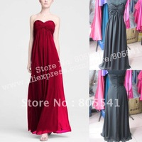 100% Real Photo Free Shipping Custom-made A-line Long Sheer Chiffon Dress with Beaded Neckline Bridesmaid Dress F14867