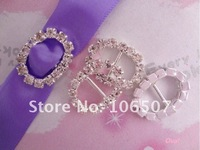FREE SHIPPING--Oval Silver A-Grade Rhinestone Buckle Ribbon Slider Craft