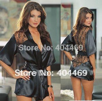 Free Shipping New sexy black nightwear lace back pajamas for women sleepwear plus size lingerie nighties for women