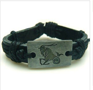 New Arrival Wholesale Stylish Twelve Constellation Tribal Leather Wristband Bracelets
