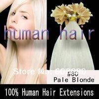 16inch/18inch/20inch/22inch/26inch Keratin glue nail tip/U-shaped Human Remy hair 40g/50g/60g/70gram #60 Platium blonde 100pcs