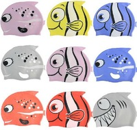 New 2014 Fashion Boys Girls Swimming Cap 100% Silicone Safety Waterproof Cartoon Fishes Print Children Swimming Caps