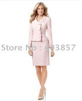 Womens Suits  Ruffled Jacket & Skirt Notched Collar  Hidden Off-Center Button Closures Long Sleeve   648