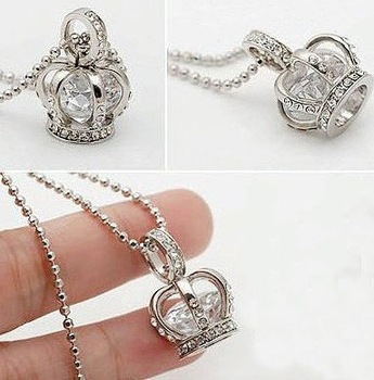 Free Shipping!! Rhinestone Crown Pendant Necklace, Fashon Crown Jewelry 10pcs/lot+Free Gift