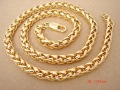 Top 24K yellow gold plated necklace.Twist column chain.Length 23 inch,width 8 mm,weight 88 gram,recommended men chain.KGP-N17