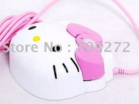 Free Shipping 10pcs/lot Lovely Cute Gift Hello Kitty Mouse With Package, Computer USB 3D Optical Mouse 1200dpi For computer