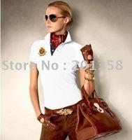 Embroidery logo woman's shirts Pique Cotton Solid women shirt t Shirt embroidery logo shown european size S-XL