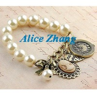 Free shipping~Wholesale Fashion Bracelet~ vintage antique brass clock heart bow cameo profile pearl beads bracelets~007~
