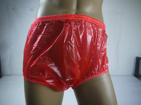 Guaranted 100%  3 pieces ADULT BABY incontinence PLASTIC PANTS red P005-8+Full Size