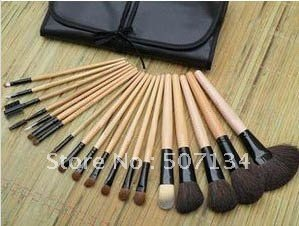 19 Pcs/set Makeup Brush Set  Overflow on sale  Case make up brush face Brushes+ wooden brush  Free shipping+Blunt drill 6081