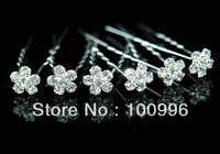 flower Rhinestone hair pin, hair accessories,20pc/lot, Free shipping small wholesale min order $10 mix order