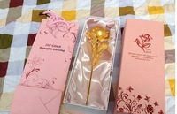Wholesale Great Valentine's day gifts,10 inch length,24k gold plate rose with grant card and bag,hand made gold rose,accept OEM