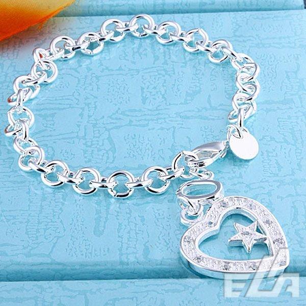 fashion silver jewelry Austrian crystal love star 925 silver bracelet high quality Nickle free