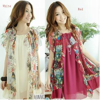 2012 new fashion dress elegant lady style chiffon summer dress, big size women's short sleeve dress, ladies dresses free shippin