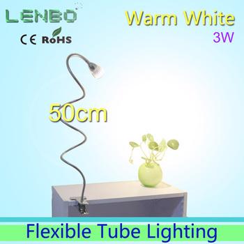 GLW 50cm Long Tube Warm white LED desk lamp Clip style with plug AC85-265V 3W High Power