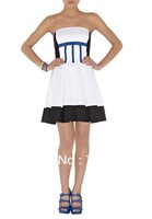 50% DISCOUNTS ON Strapless colourblock prom dress with boned bodice C128