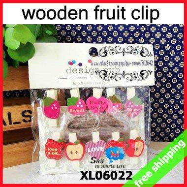 FREE SHIPPING Wood Clip Memo Novel Snack Close Fruit Series Strawberry Apple Style Gift 10pcs/pack 15packs/lot say hi 06022(China (Mainland))